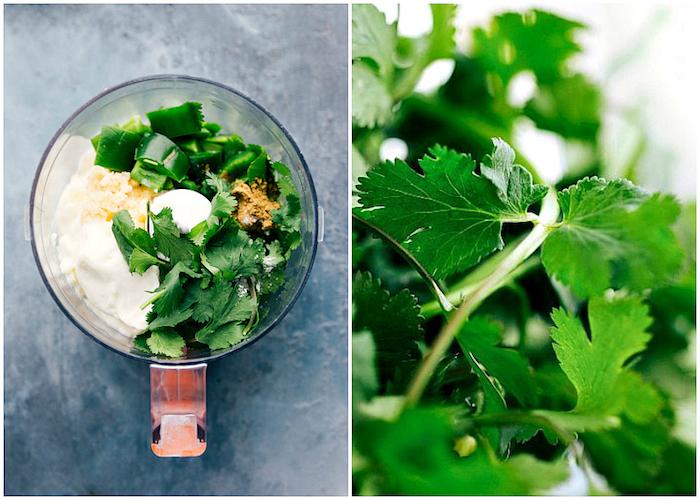 como hacer una salsa verde para tacos, rellenos para tacos fáciles para hacer en casa, perejil, pimiento verde, cebolla y yogurt