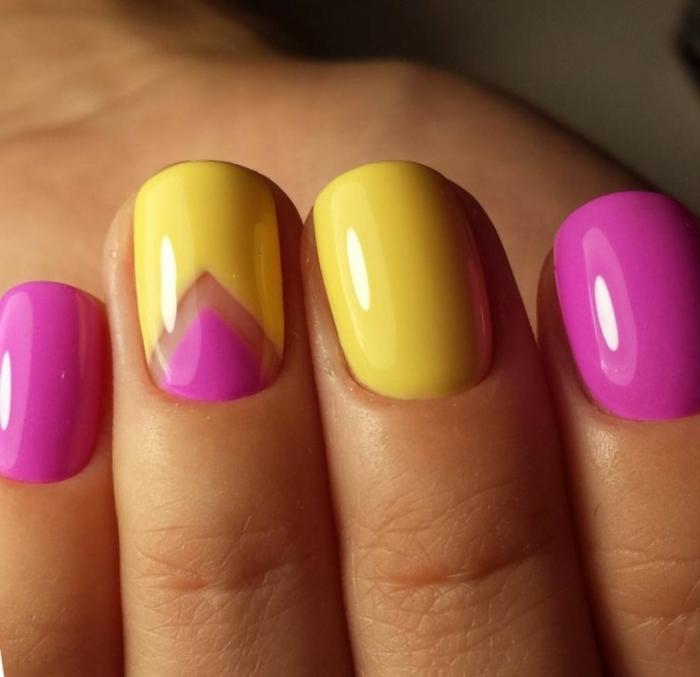 interesantes combinaciones de colores en uñas otoño invierno 2019 2020, modelos de uñas de gel bonitos en tonos vibrantes