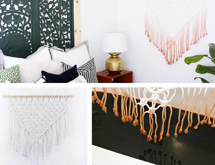 tres diferentes tipos de manualidades hechos con macrame, decoracion salon, ideas sobre como hacer macrame