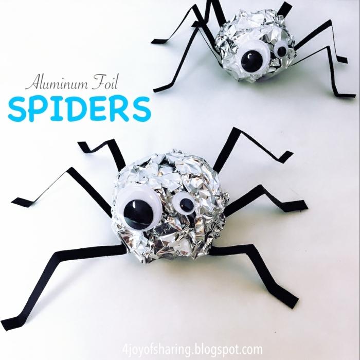 como hacer mini adornos Halloween de materiales reciclados, adornos halloween caseros en fotos, mini arañas originales