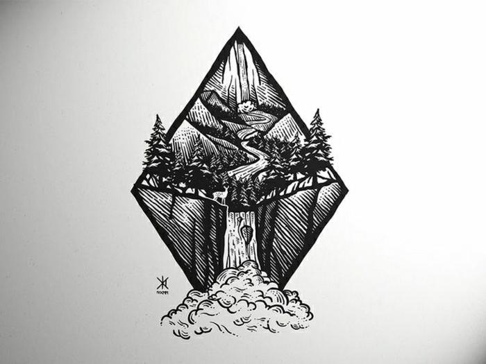 tattoo geométrico en forma de rombo para los amantes de la naturaleza, dibujos para tatuajes que inspiran, diseños de tattoos