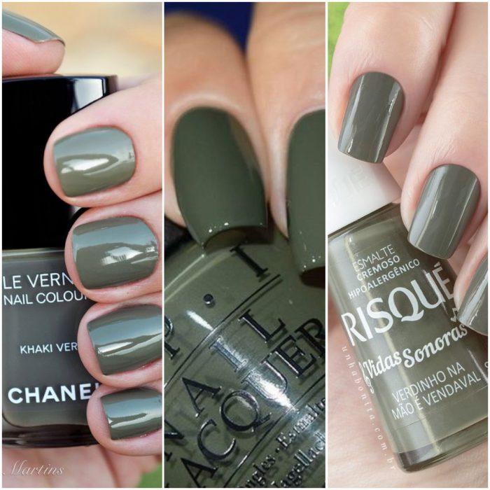 bonitos colores en las uñas, cuáles son las top tendencias en las uñas en 2020, color verde apagado en uñas cuadrada