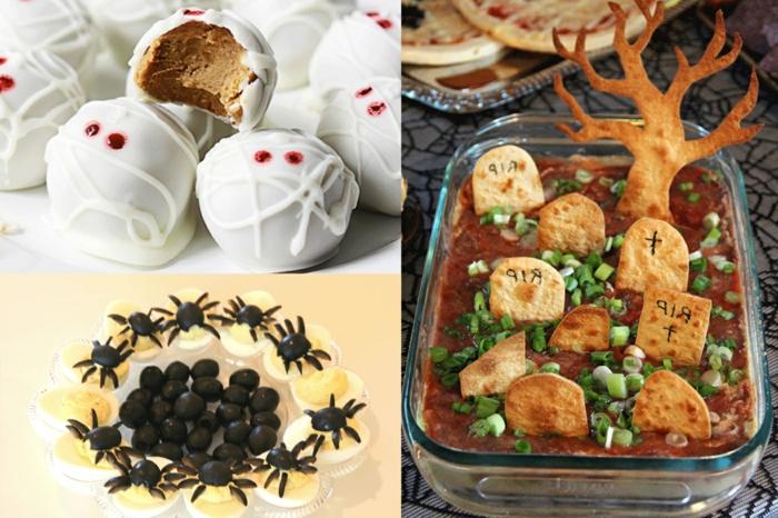 tres propuestas originales de aperitivos halloween para pequeños y adultos, comidas halloween, huevos cocidos, caramelos