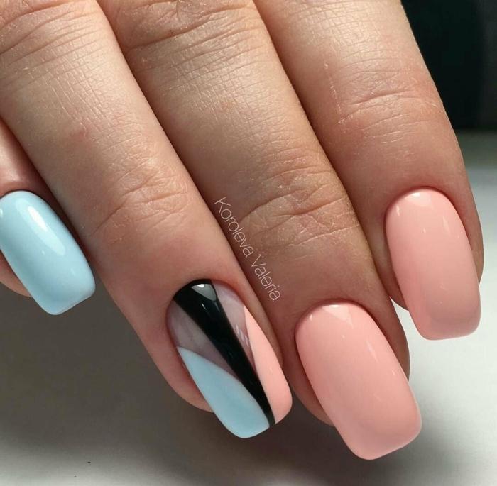 detalles geométricos en las uñas, uñas decoradas elegantes, colores bonitos en las uñas, manicura en colores pastel