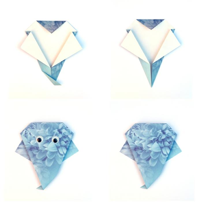 manualidades para halloween sencillas y originales, como hacer adornos de papel origami, fantasmas de papel fáciles y rápidas