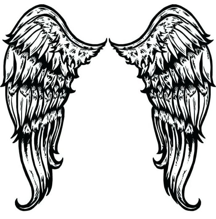 tatuaje simbólico alas de angel, tatuajes faciles y bonitos, diseños de tatuajes fáciles que puedes imprimir, galería de imágenes de tattoos