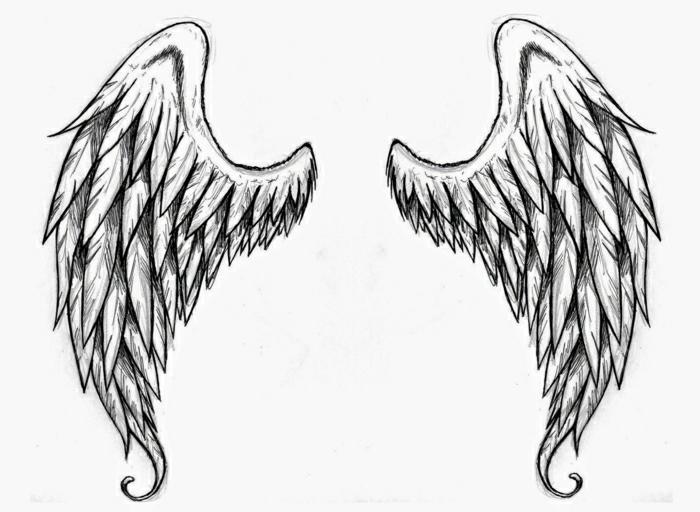 pequeño tatuaje alas de ángel, tatuajes simbólicos con fuerte significado, tatuajes faciles y bonito, tattoos temporales