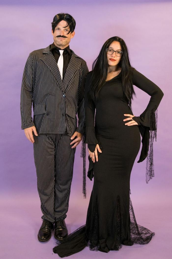 trajes de carnaval simples y originales, disfraces familia Addams, ideas de disfraces de último momento en fotos