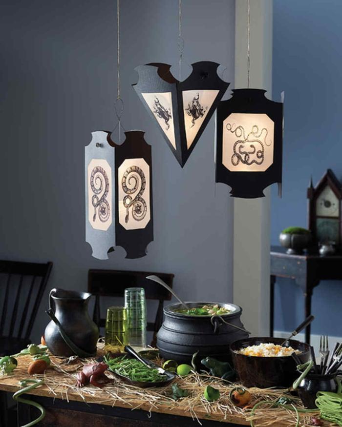 excelentes propuestas de manualidades halloween para decorar el salón, linternas DIY originales en estilo asiático