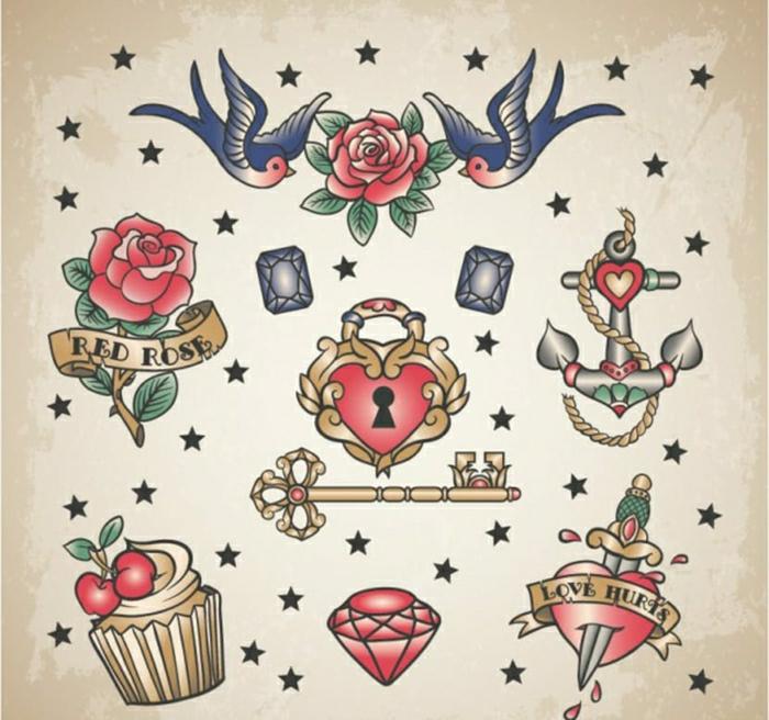 pequeños detalles coloridos para tatuajes en estilo old school, diseños de tattoos en estilo vintage, originales ideas de tattoos
