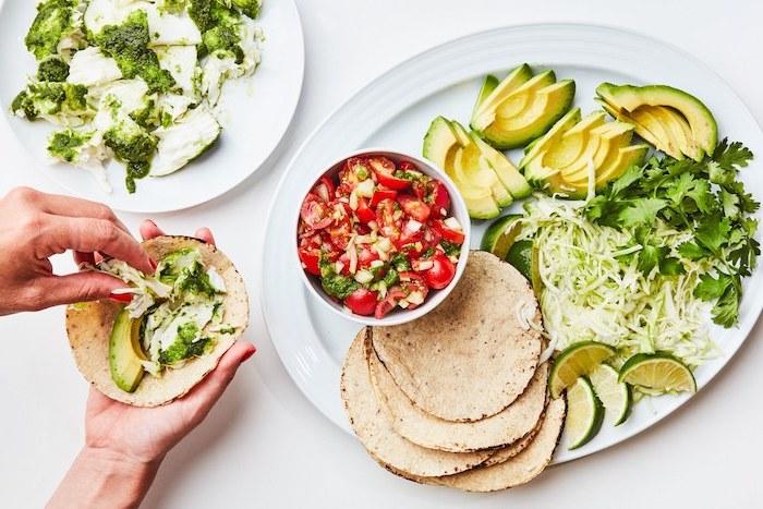 tortillas con aguacate, brocoli, tomates, tortillas de harina integralm lima, col verde y perejil, recetas en imagenes
