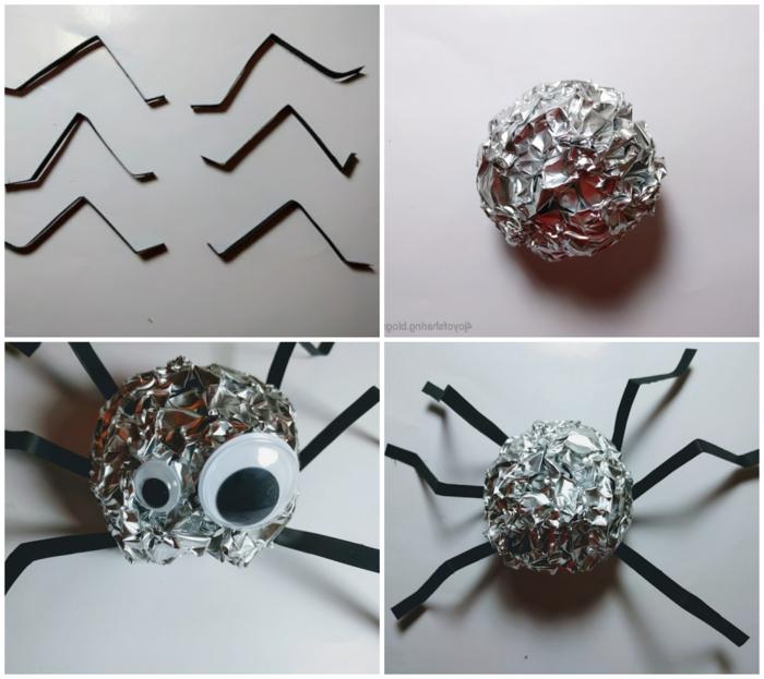 arañas DIY hechas de materiales recicladas, más de 90 ideas de adornos halloween caseros paso a paso, decoración DIY