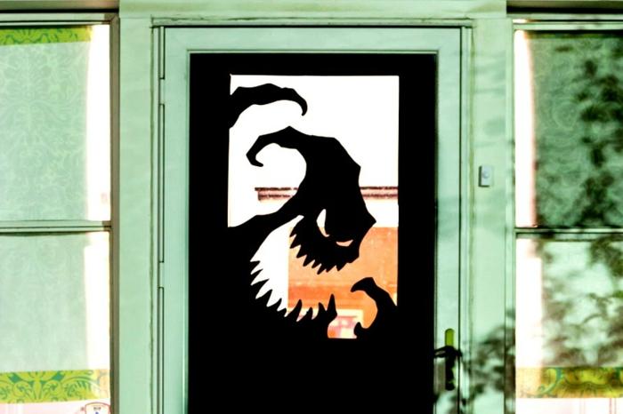 puertas decoradas para Halloween super originales, fotos de casa decoradas para el otoño, manualidades para el otoño