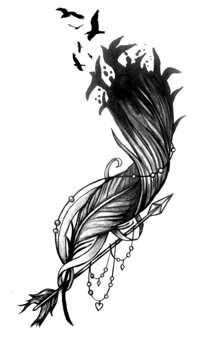 ejemplos de tatuajes inspiradores, diseños de tatuajes de plumas bonitos, ideas para tatuajes, diseños de tattoos fácile