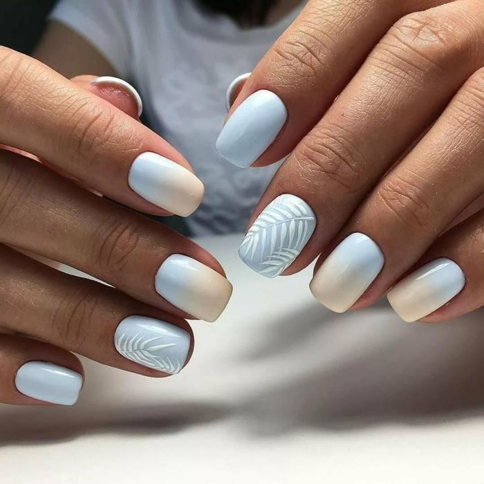 elegante manicura en color azul claro y blanco, uñas cuadradas con efecto ombre y motivos botánicos, decoracion de uñas