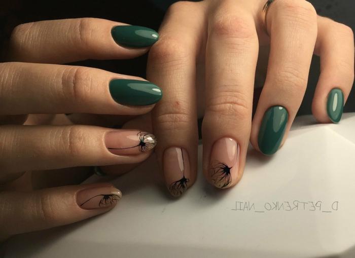 como combinar los colores para uñas, uñas gel transparente con decorados motivos florales y color verde oscuro elegante
