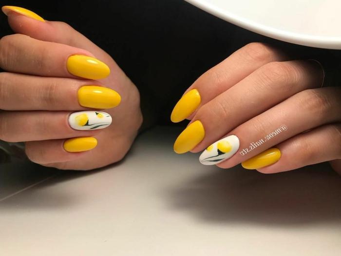 elementos decorativos y dibujos en las uñas, uñas decoradas diseños actuales, manicura larga color blanco y naranja