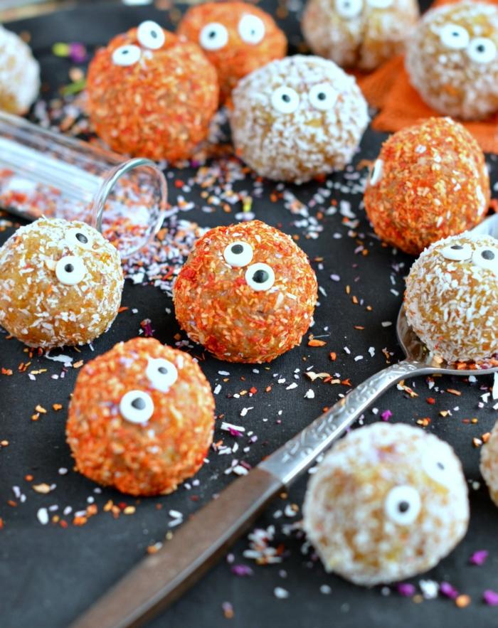 bolas de coco y chocolate originales y personalizadas, recetas terrorificas para halloween, dulces de Halloween originales en 95 fotos