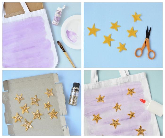 tutoriales de manualidades de halloween fáciles y rápidos, bolso decorativo para Halloween decorado con etrellas de fieltro y purpurina