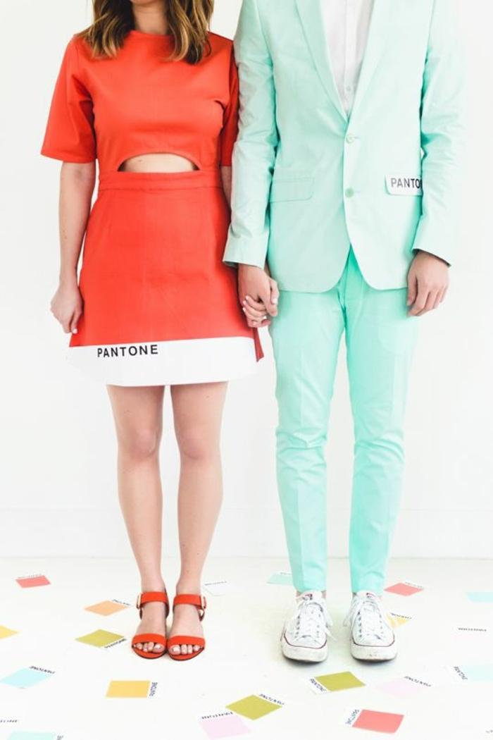 algunas simpaticas ideas de disfraces parejas originales, pareja Pantone, disfraces para hombres y mujeres en pareja