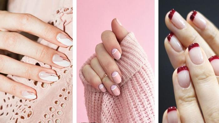 tres variantes de uñas francesas decoradas modernas en 2019, uñas otoño 2019, últimas tendencias en uñas 2020