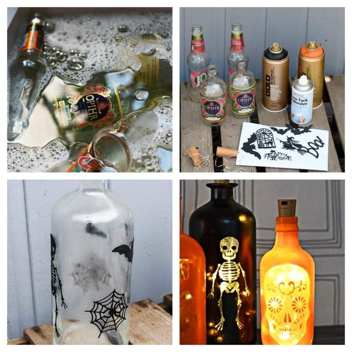 como hacer botellas DIy con bombillas y dibujos de calaveras paso a paso, manualidades halloween infantil en fotos