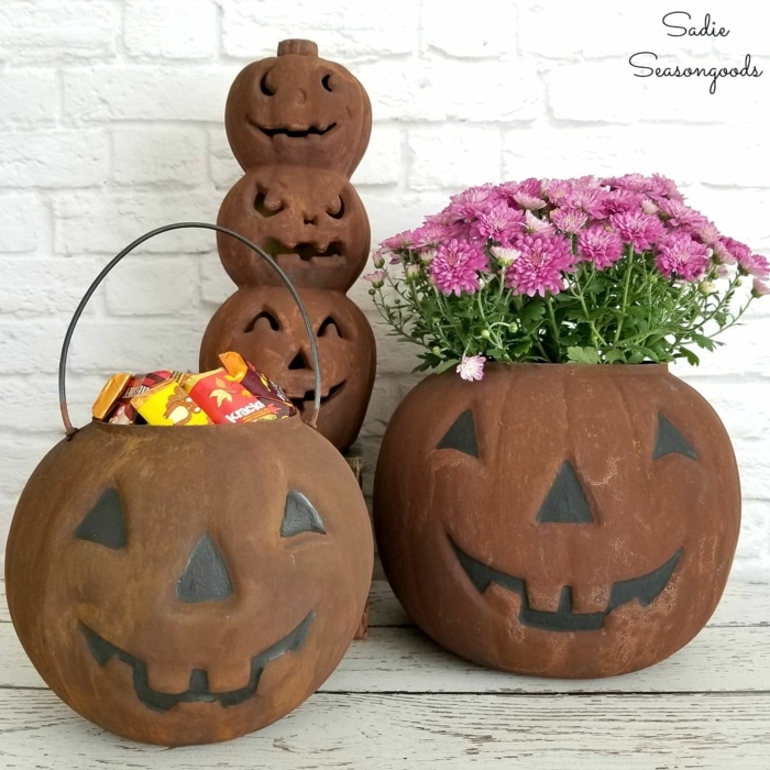 macetas originales en forma de calabazas, decoracion halloween manualidades fáciles y rápidas, fotos de decoración DIY