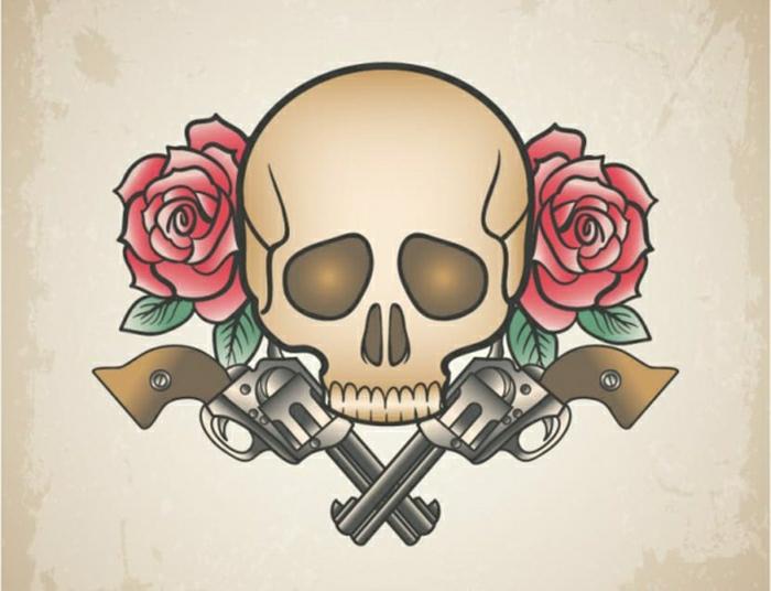 diseños de tatuajes de calaveras originales en estilo old school, tatuajes de calaveras y tatuajes vintage fotos, diseños de tattoos