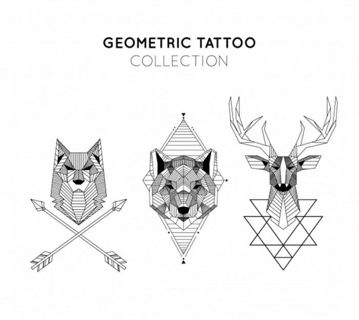 bonitos diseños de tatuajes geométricos, motivos para tatuajes, tattoos geométricos con animales, tatuajes geométricos lobos