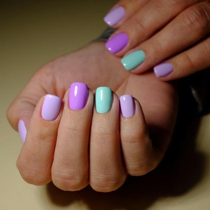 uñas con forma cuadrada pintadas en colores pastel, uñas de gel 2019 en colores bonitos, colores modernos en las uñas