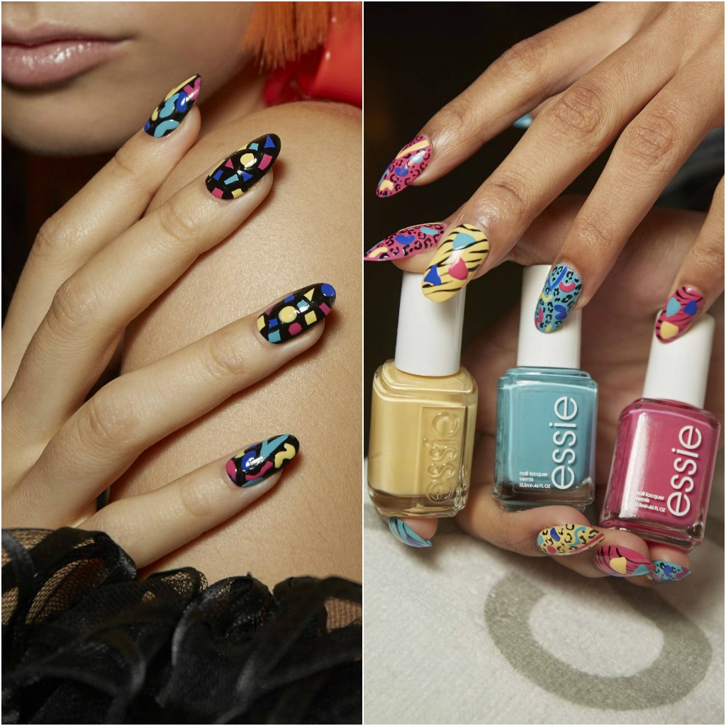 colores llamativos en las uñas, fotos de uñas de gel, uñas negras decorada con detalles geométricos en colores, imágenes de uñas