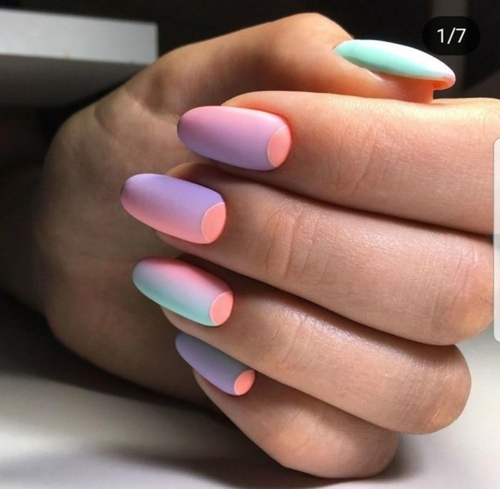cuáles son las últimas tendencias en las uñas, uñas otoño 2019, decoración de uñas en colores neón, uñas de forma almendrada
