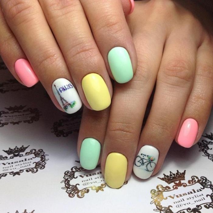 fotos de uñas en colores pastel, uñas otoño 2019 en fotos, uñas pintadas en rosado, amarillo, verde y blanco con decorado bonito