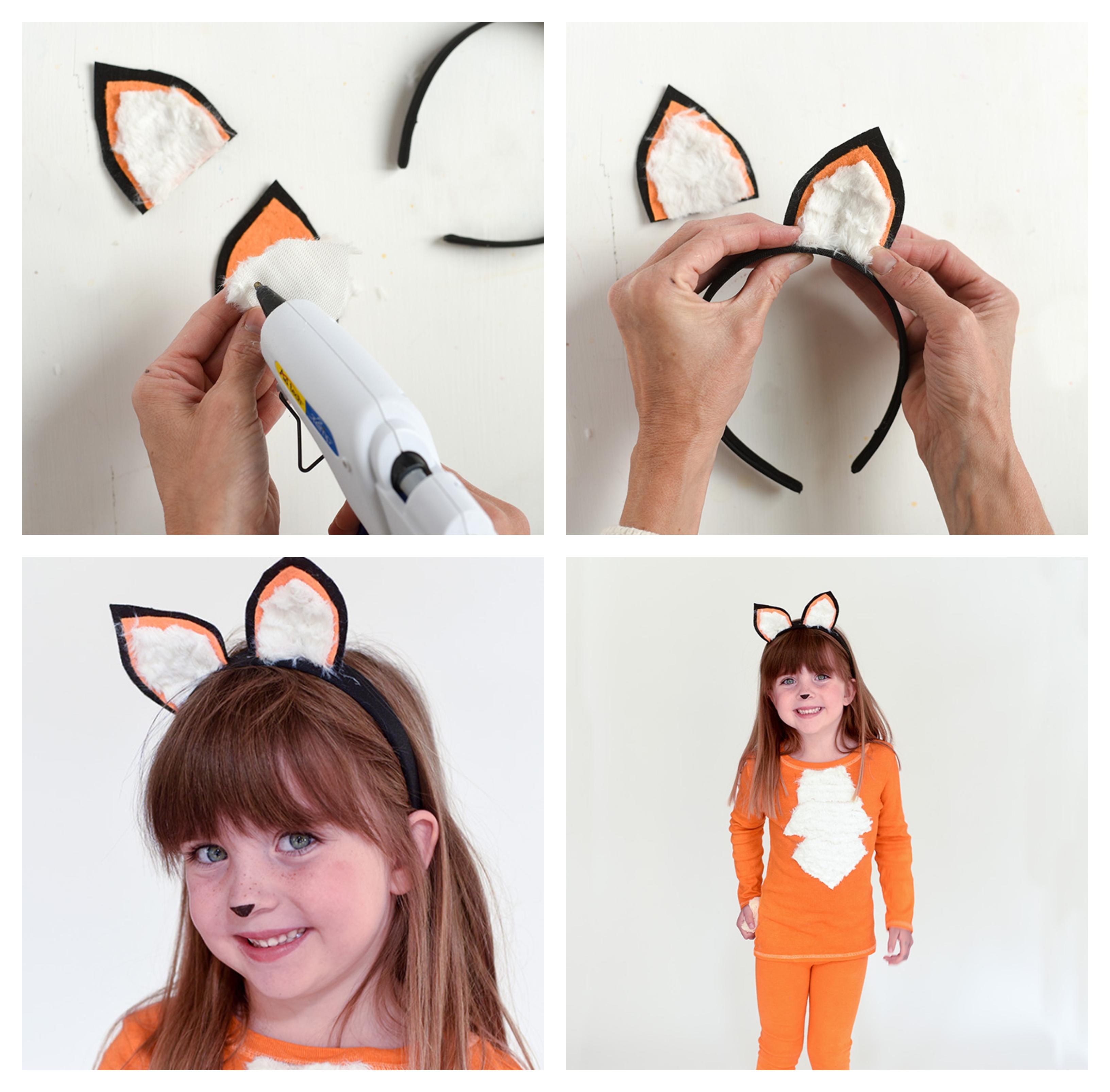 como hacer una diadema para la cabeza, ideas disfrace zorro pequeña niña, disfraces de halloween originales paso a paso