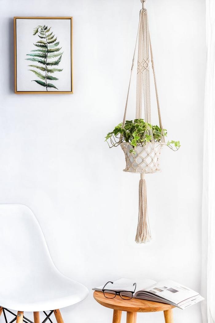 detalles en estilo bohemio para decorar la casa, originales ideas de decoración DIY para tu hogar, espacio decorado en blanco con objetos decorativos macrame