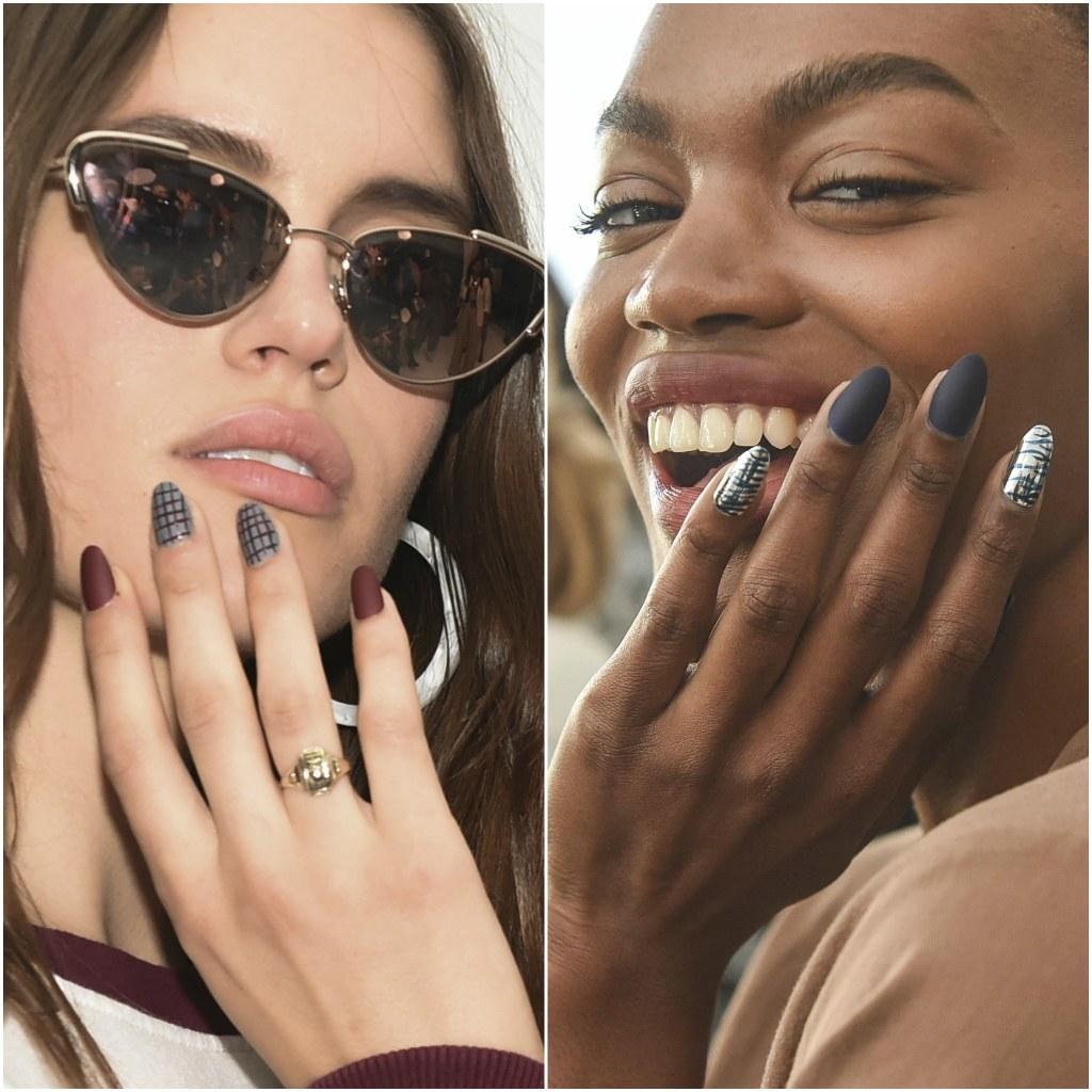 tendencias otoño invierno 2020, uñas pintadas en colores oscuros con acabado mate, como se llevan las uñas esta temporada