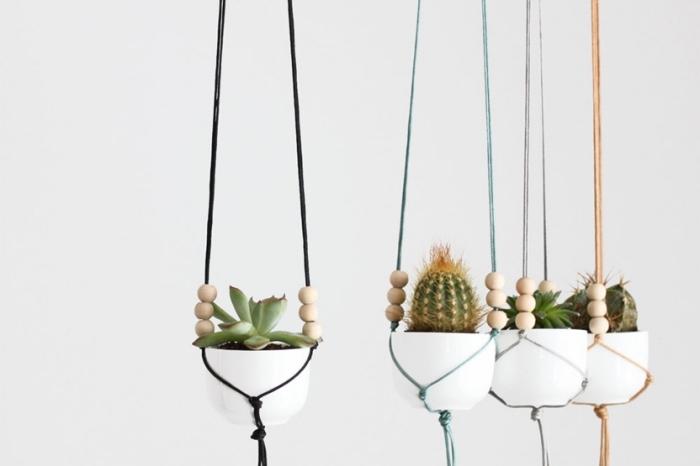 colgantes para macetas DIY hechos con macrame, super originales ideas de colgantes para decorar la casa en fotos