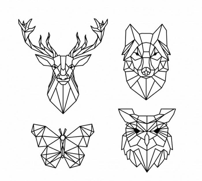diseños de tatuajes geométricos con animales tatuaje geométrico ciervo, lobo, mariposa y búho, originales ideas de tattoos