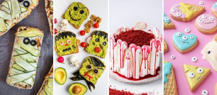 cuatro propuestas de entrantes y postres de Halloween, coloridas y divertidas propuestas para hacer este Halloween