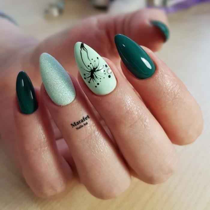 uñas de gel blancas y otros colores modernos para uñas otoño invierno 2019 2020, uñas largas en los tonos del verde