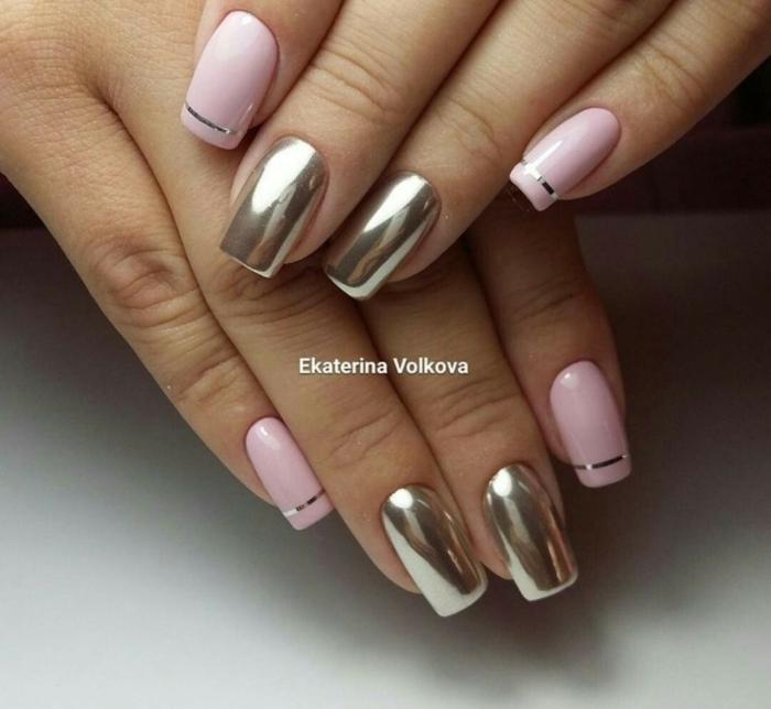 originales combinaciones de colores en las uñas, uñas largas de forma cuadrada pintadas en rosado y dorado brillante