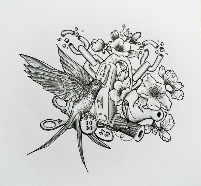 diseños de tatuajes con flores y aves, diseño bonito con un fuerte significado, ideas de tatuajes originales y bonitos