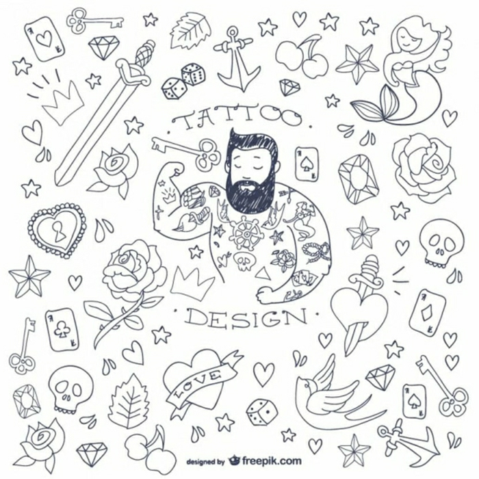 pequeños motivos para tatuajes en estilo old school, como escoger un tatuaje en estilo vintage, más de 100 propuestas de tattoos