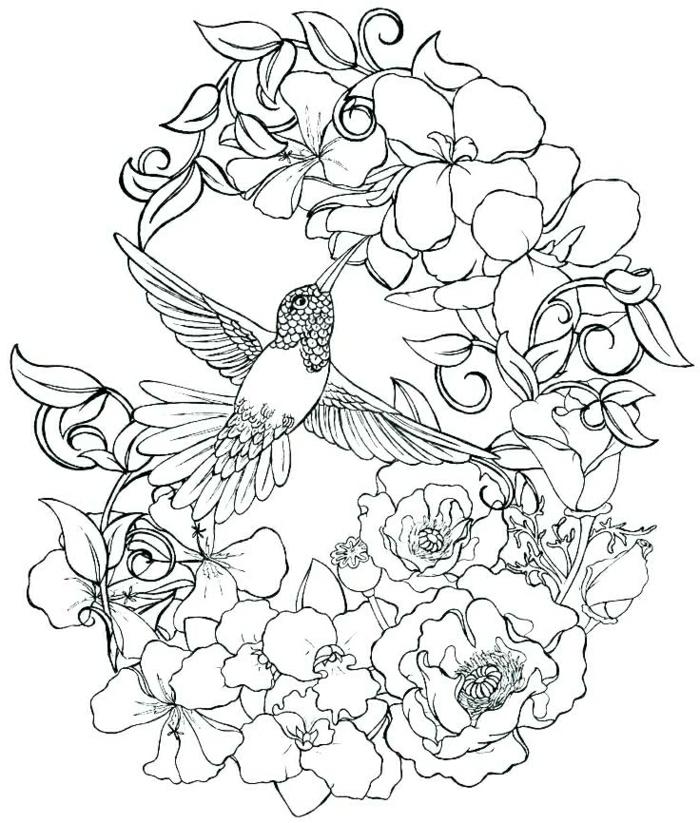 corona de flores y ave, diseños de tatuajes originales y fáciles de imprimir, tatuajes temporales bonitos diseños de tattoos