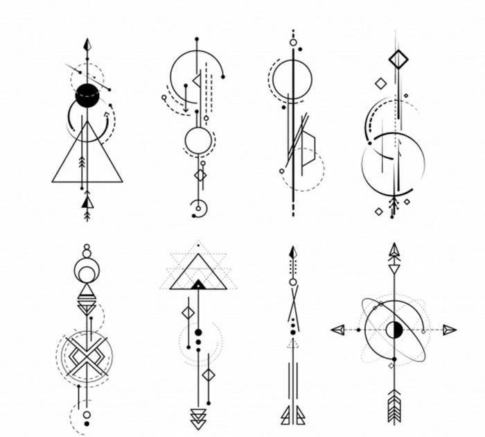 tatuajes geométricos con flechas con un significado escondido, diseños de tatuajes originales con figuras geométricas
