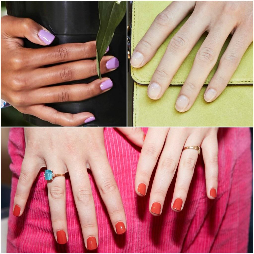 cuáles son los colores protagonistas en uñas 2020, fotos de uñas de gel, color lila claro, rojo fuego, ideas de manicura