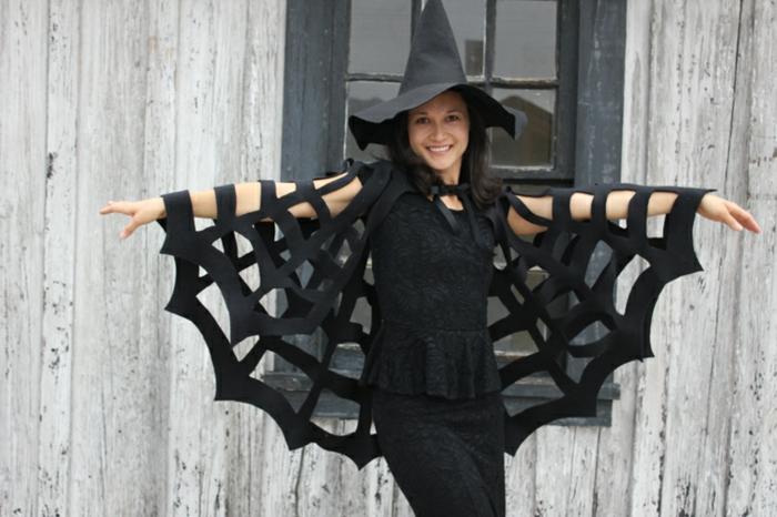 disfrace bruja mujer, capa de feltro red de araña, las mejores ideas de disfraces halloween ideas, interesantes fotos con disfraces