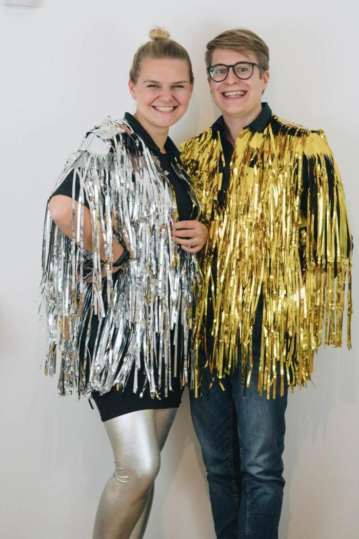 disfraces halloween para parejas, disfraces hombre y mujer en el estilo de los años 80, ideas de disfraces caseros fáciles