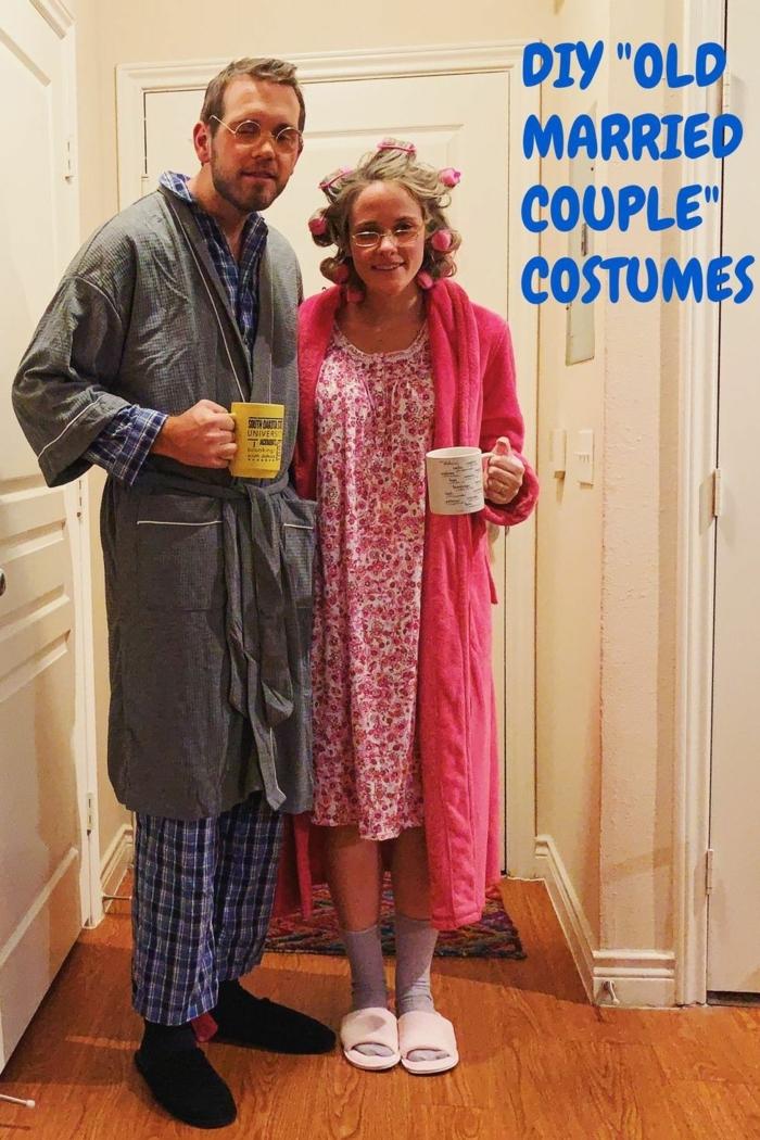 ideas originales de disfraces de carnaval en grupo y en pareja, una pareja anciana disfraz original de últmimo momento