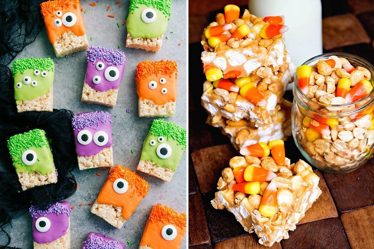 ideas originales de golosinas y merienda halloween, bares de cereales ricos y coloridos, ideas para un menu halloween cena